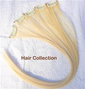"""Blonde- 12"""" Human Hair Clip In Extensions for Highlight(5pcs)"""