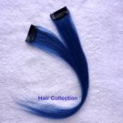 "12""Blue- Human Hair Clip On Extensions for Highlights(2pcs)"