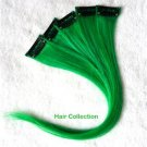 "12""Green Human Hair Clip In Extensions  for Highlights(5pcs)"