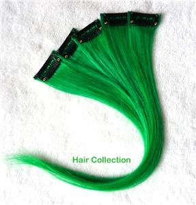 """12""""Green Human Hair Clip In Extensions  for Highlights(5pcs)"""