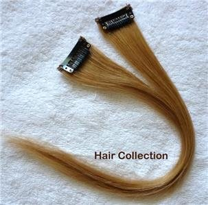 """12"""" #27 Strawberry Blonde Human Hair Clip In On Extensions for Highlights(2pcs)"""