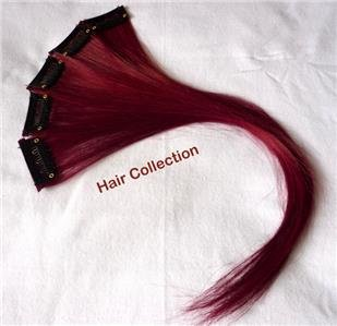 """Burgundy-12"""" Human Hair Clip In Extensions for highlights (5pcs)"""