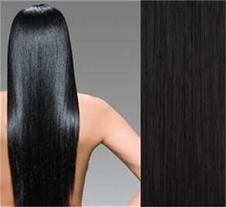 """24""""#1B(Off Black) Remy Human Hair Clip-In Extensions  Full Set- 8 pcs /140 grams"""