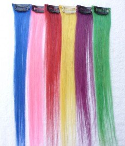 """12"""" Six Colorful Human Hair Clip-In Extensions for Highlights"""