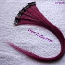 "18"" Burgundy- Human Hair Clip on in Extensions for highlights(5 pcs)"