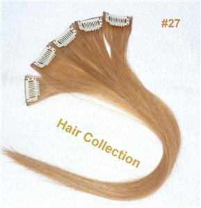 """18""""#27 Strawberry Blonde Human Hair Clip-In Extensions for Highlights(5pcs)"""