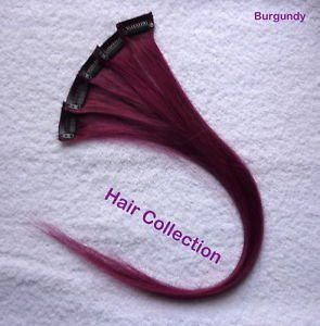 """Burgundy- 18""""long Human Hair Clip on in Extensions for Highlight(5pcs)"""