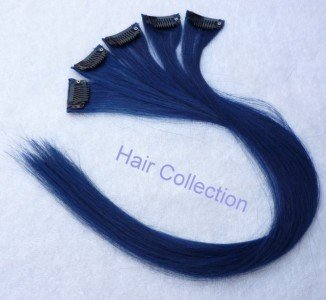 """Hair Collection-18"""" Blue 100% Human Hair Clip in on Extensions - 1.6""""widex5pcs"""