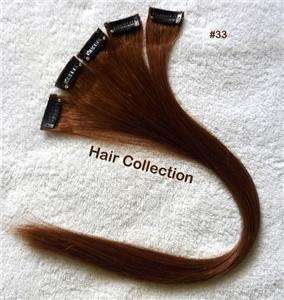 "18"" #33 Dark Auburn Remy Human Hair Clip on in Extensions for Highlights(5pcs)"
