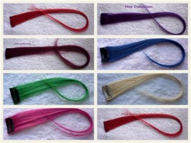 """18""""Purple,Blue,Red,Pink,Blond,Green Human Hair Clip On Extensions for Highlights"""