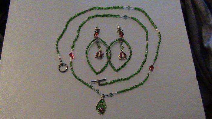 Lady Bug Necklace and Earing Set