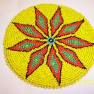 Yellow w/ Red/Green Diamonds Rosette - 5""