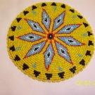 "Yellow w/ Light Blue Diamonds Rosette - 5"""
