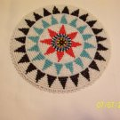 White w/ Black/Light Blue Triangles Rosette - 5""