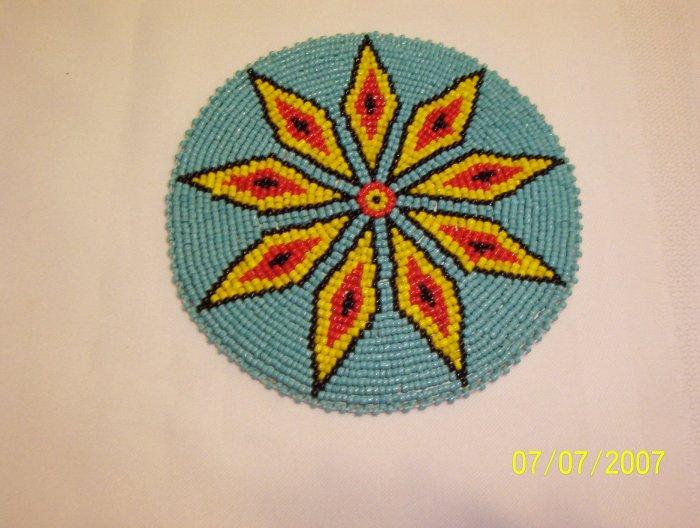 "Turquoise w/ Yellow/Red Diamonds Rosette - 5"""