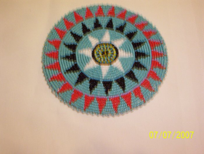 """Turquoise w/ Red/Black Triangles Rosette - 5"""""""