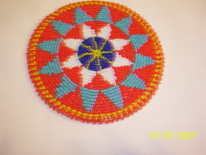 Red w/ Light Blue/White Triangles Rosette - 5""
