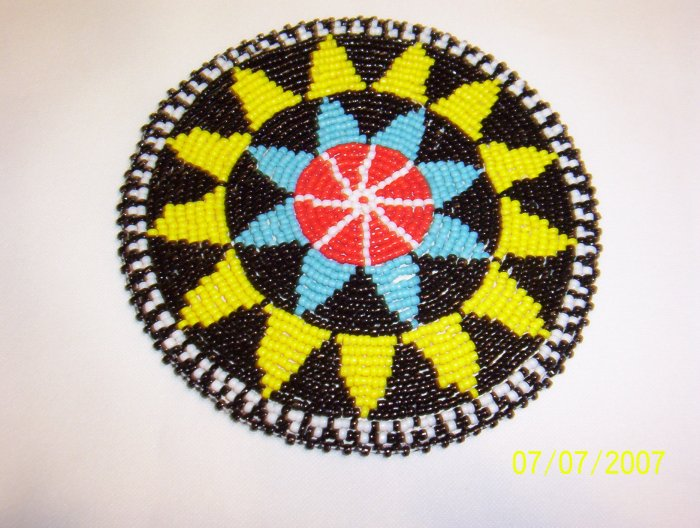 """Black w/ Yellow and Light Blue Triangles Rosette - 5"""""""