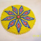 Yellow w/ Blue, Red and White Diamonds Rosette - 3""