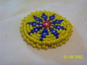 """Yellow w/ Blue, Red and White Diamonds Rosette - 1 1/2"""""""