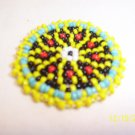 Yellow w/ Red Diamonds Rosette - 1 1/2""