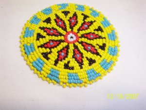 Yellow w/ Red Diamonds Rosette - 3""