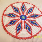 White w/ Red/Blue Diamonds Rosette - 3""