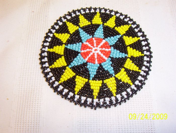 """Black w/ Yellow and Light Blue Triangles Rosette - 4"""""""