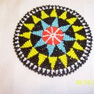Black w/ Yellow and Light Blue Triangles Rosette - 4""