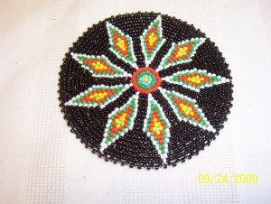 "Black w/ Red/White/Green Diamonds Rosette - 4"""