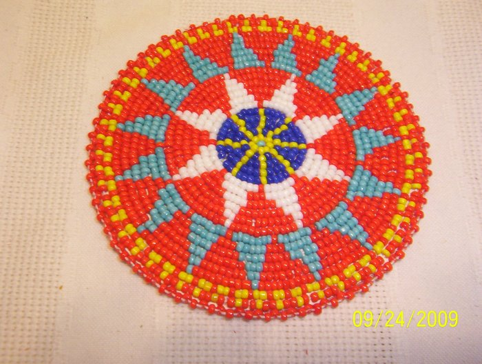 "Red w/ Light Blue/White Triangles Rosette - 4"""