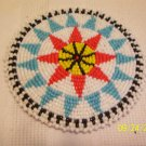 White w/ Black/Light Blue Triangles Rosette - 4""