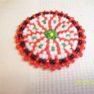 Red w/ White/Green Rosette - 1 1/2""