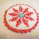 White w/ Red/Blue Diamonds Rosette - 1 1/2""