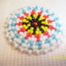 White w/ Black/Light Blue Rosette - 1 1/2""