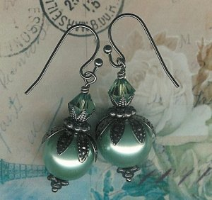 Gunmetal Sage Berry Leaf Earrings