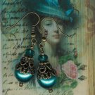 Antique Brass and Teal Pearl Earrings