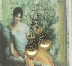Antique Brass and Gold Pearl Earrings