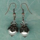 White Pearl Copper Bali Earrings