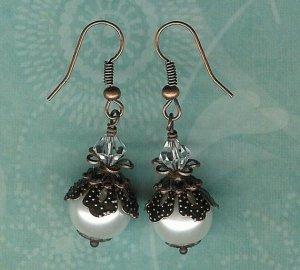White Pearl Copper Bali Earrings