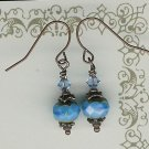 Blue Glass rondelle Bead Earrings