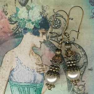 Antique Brass and Cream Pearl Earrings