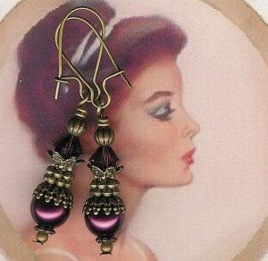 Antique Brass and Eggplant Pearl  Earrings
