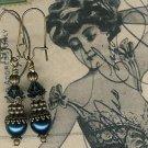 Antique Brass Dark Sapphire Pearl Earrings