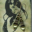 Antique Brass and Olivine Pearl Earrings