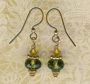 Olive Green and Gold Earrings
