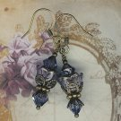 Purple Swarovski Crystal Brass Flower Earrings