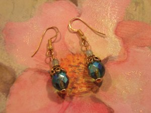 Auqa Fire Polished Bead with Antique Brass Earrings