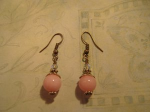 Pink Jade and Antique Brass Earrings