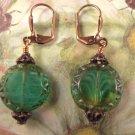 Fancy Czech Bead Coin and Copper Earrings